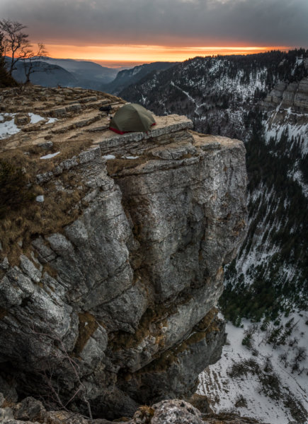 Camping on cliffface