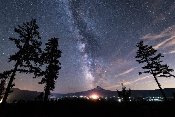 Milky way above mountain