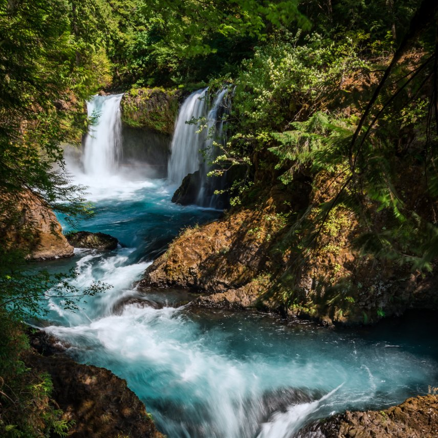 Cascading blue waterfall