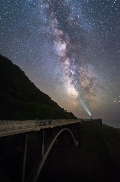 Milky way above bridge