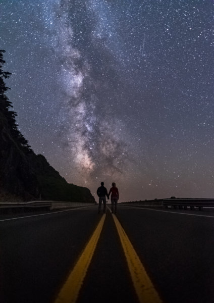 Milky way above couple