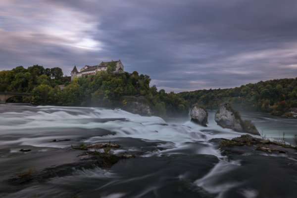 Rheinfall waterfall at blue hour