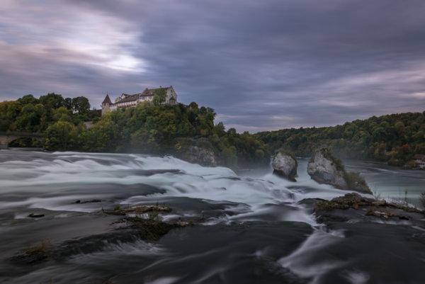 Rheinfall waterfall at blue hour