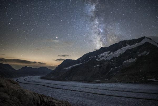 Milky way above glacier
