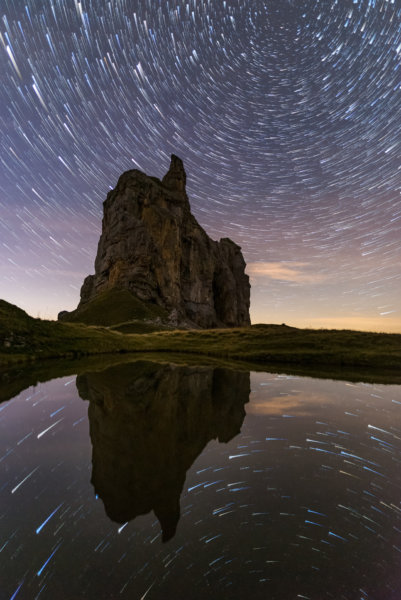 Star trails reflections
