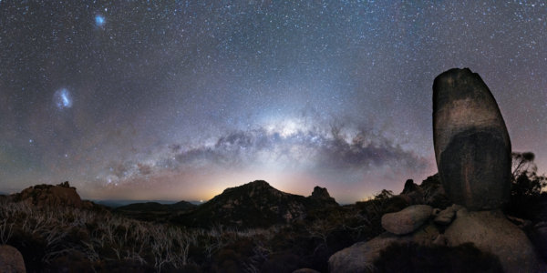 Milky way arch next to rock formation