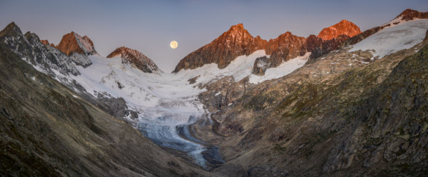 Glacier Panorama with Alpenglow and Full Moon