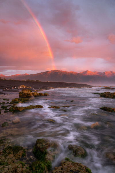 Rainbow Above Alpenglow Mountains
