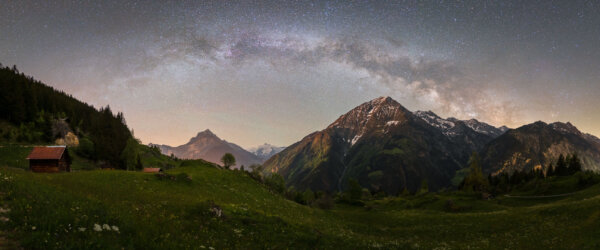 Milky Way Panorama Above Mountain Alp
