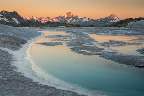 Alpenglow with Glacial Lake
