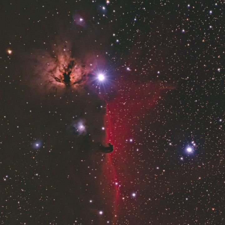Deep Sky Photo of the Flame and Horsehead Nebula